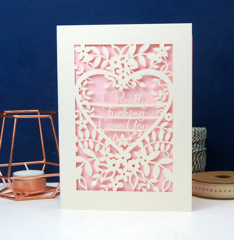 I Really F***ing love You Papercut Card - A5 (large) / Candy Pink