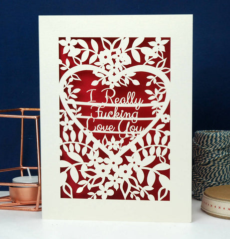 I Really F***ing love You Papercut Card - A5 (large) / Dark Red