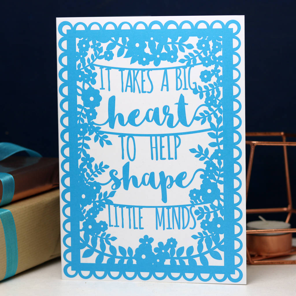 Teacher Quote A6 Blue Printed Card Wholesale Pack