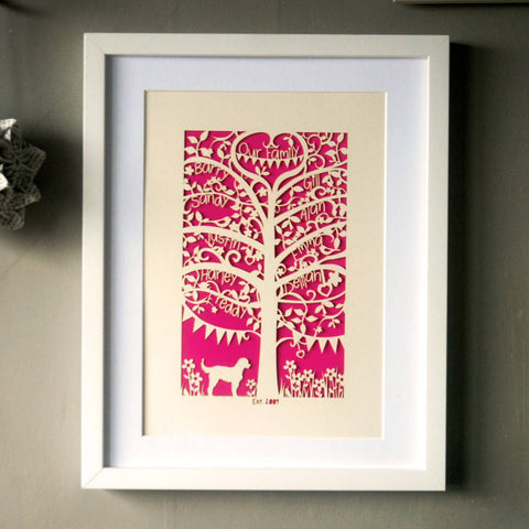 Family Tree Unframed A4 Papercut - Shocking Pink