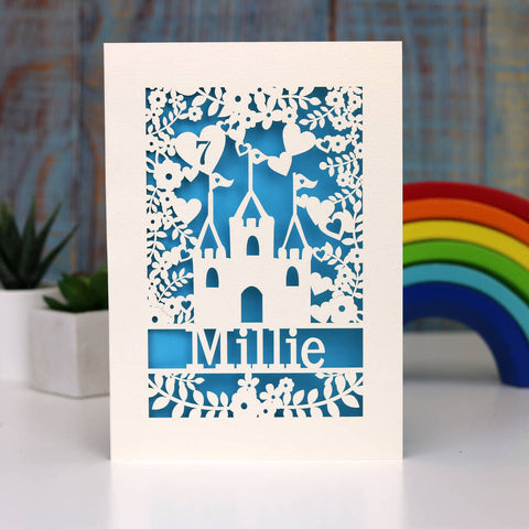 Personalised Lasercut Castle Birthday Card - A5 / Peacock Blue