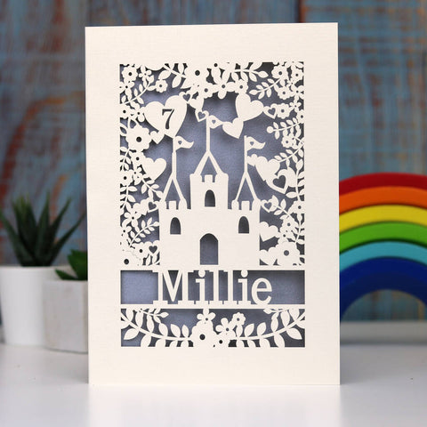 Personalised Lasercut Castle Birthday Card - A5 / Silver