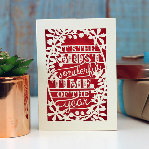 'Most Wonderful' Papercut Christmas Card