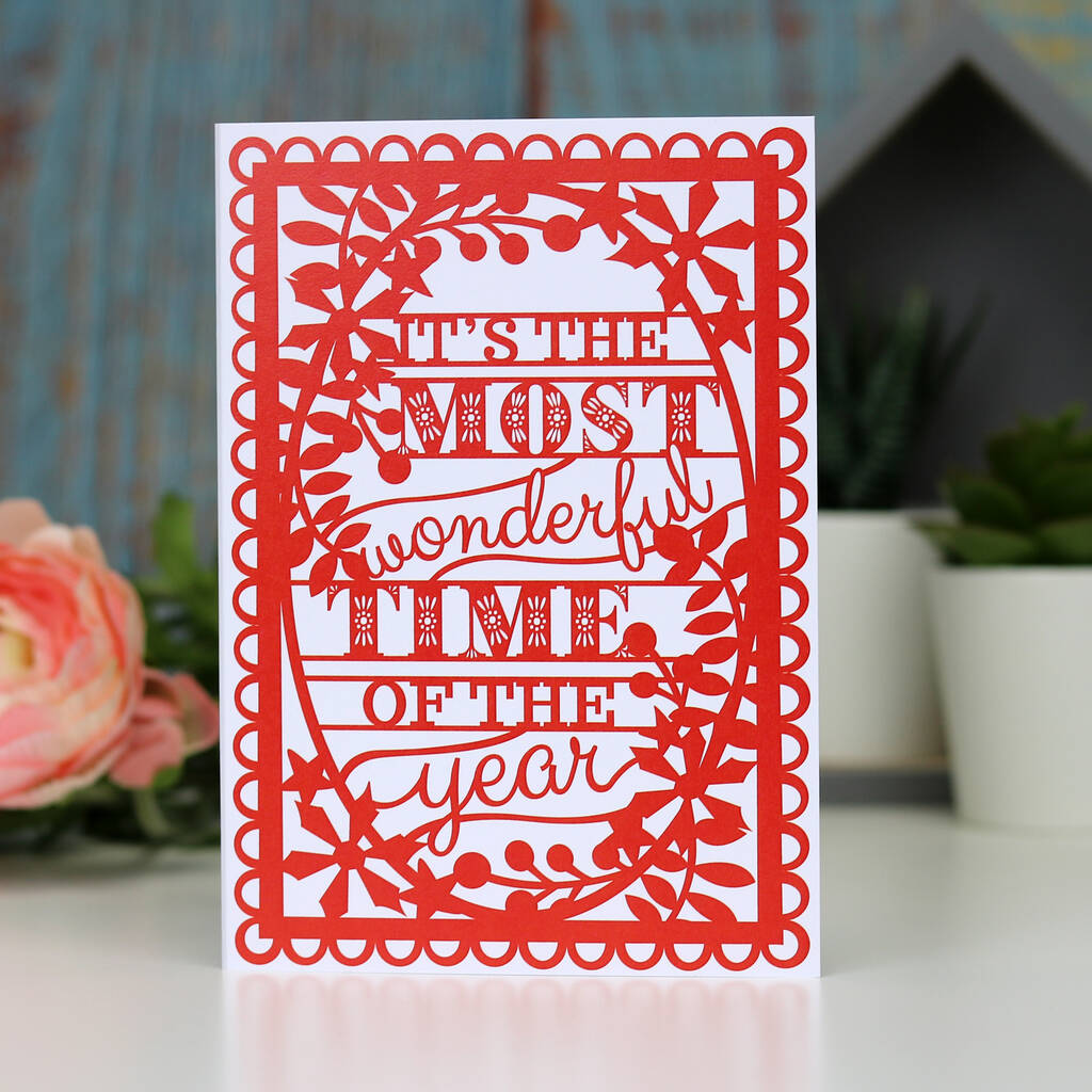 'Most Wonderful Time Of The Year' Christmas Printed Card A6