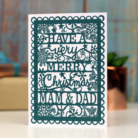 Mam/Mum/Mom And Dad Printed A6 Christmas Card