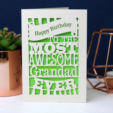 Papercut Happy Birthday To The Most Awesome… Card - A5 (large) / Bright Green / Dad