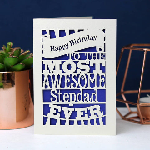 Papercut Happy Birthday To The Most Awesome… Card - A5 (large) / Infra Violet / Dad