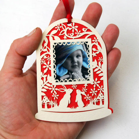 Papercut Snowglobe Photo Christmas Gift Tag
