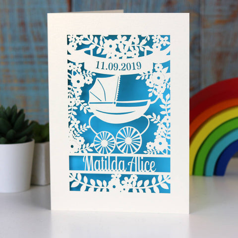 Papercut Vintage Pram Baby Card - A5 / Cream / Peacock Blue