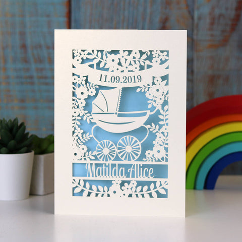 Papercut Vintage Pram Baby Card - A5 / Cream / Baby Blue
