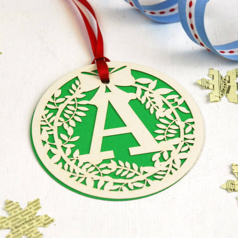 Papercut Wreath Initial Gift Tag - Green
