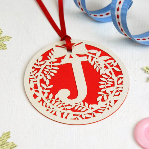 Papercut Wreath Initial Gift Tag - Red