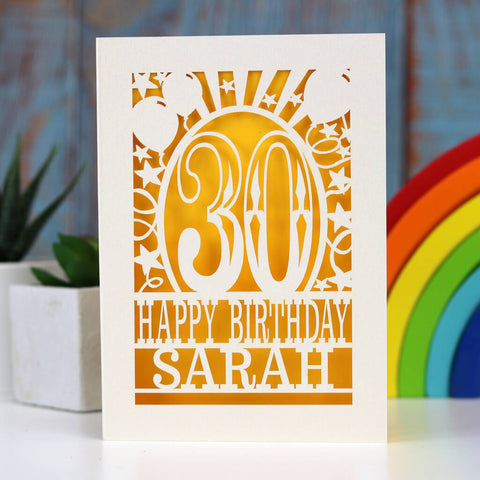 Personalised Any Age Papercut Birthday Card - A5 (large) / Sunshine Yellow