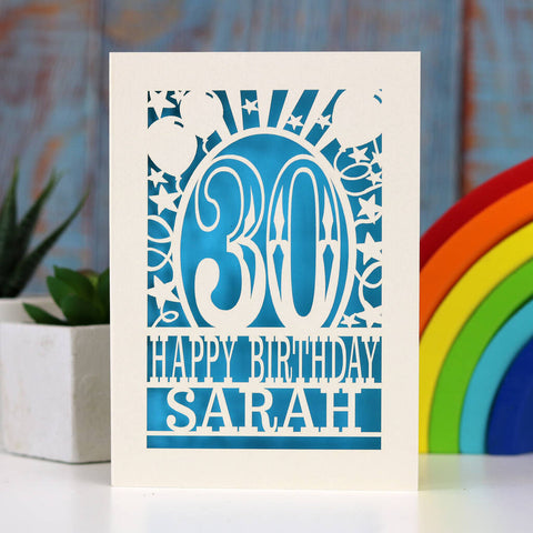 Personalised Any Age Papercut Birthday Card - A5 (large) / Peacock Blue