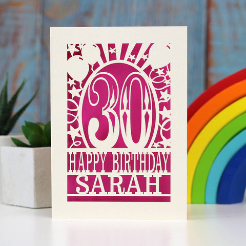 Personalised Any Age Papercut Birthday Card - A5 (large) / Shocking Pink