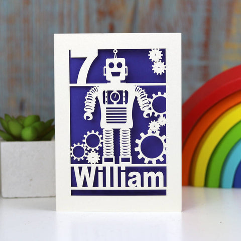 Personalised Papercut Robot Birthday Card - A5 / Infra Violet