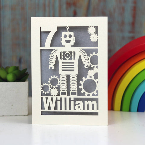 Personalised Papercut Robot Birthday Card - A5 / Silver