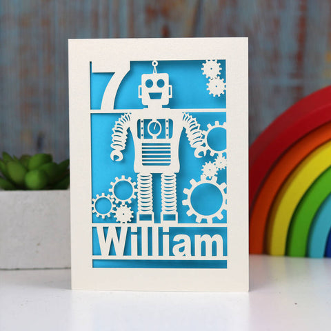 Personalised Papercut Robot Birthday Card - A5 / Peacock Blue