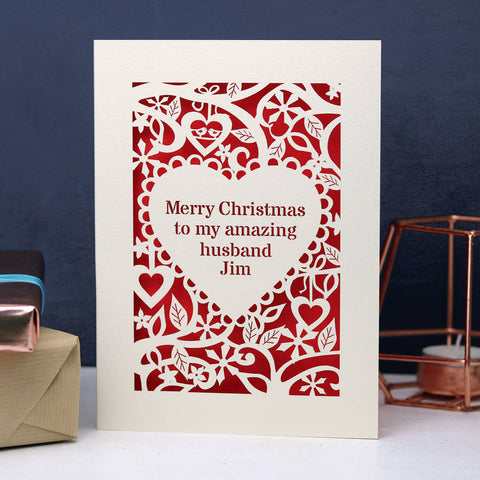 Personalised 'Merry Christmas To My Amazing…' Card - A5 / Cream / Bright Red