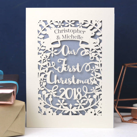 Personalised 'Our First Christmas' Papercut Card -
