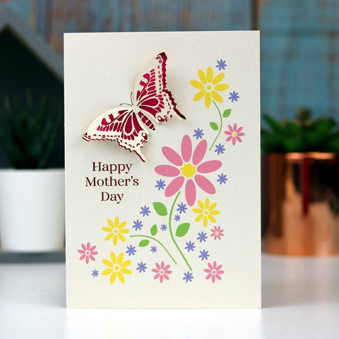 Mother's Day Papercut And Printed Butterfly Card - A5 (Large) / Shocking Pink
