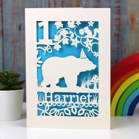 Personalised Papercut Bear Birthday Card - A5 (large) / Peacock Blue