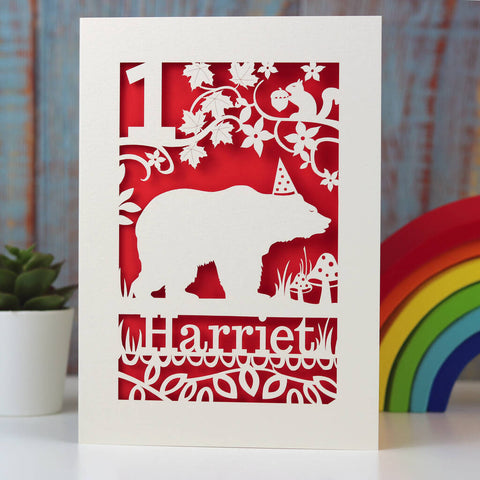 Personalised Papercut Bear Birthday Card - A5 (large) / Bright Red
