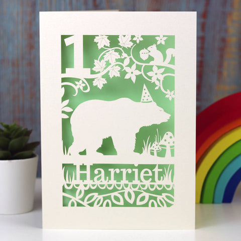 Personalised Papercut Bear Birthday Card - A5 (large) / Light Green