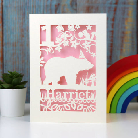 Personalised Papercut Bear Birthday Card - A5 (large) / Candy Pink