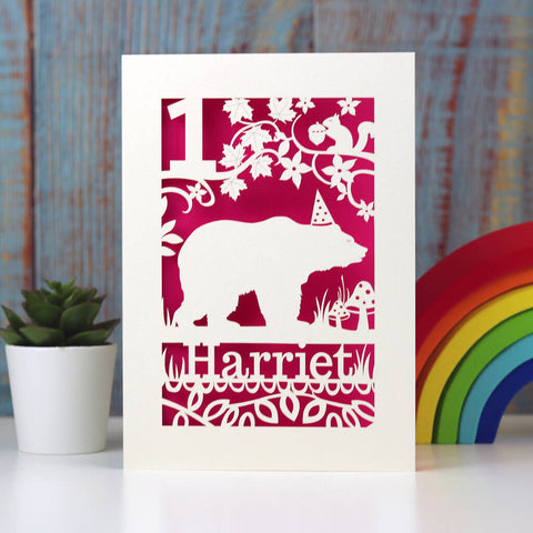 Personalised Papercut Bear Birthday Card - A5 (large) / Shocking Pink