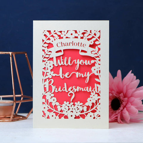 Personalised Papercut Bridesmaid Card