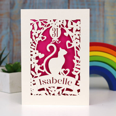 Personalised Papercut Cat Birthday Card