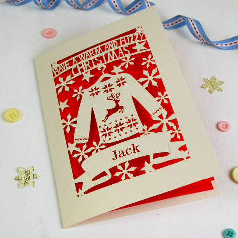 Personalised Papercut Christmas Jumper Card