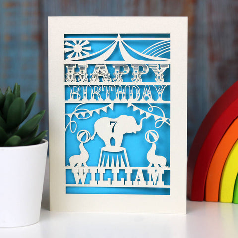 Personalised Papercut Circus Birthday Card