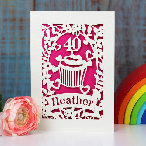 Personalised Papercut Cupcake Birthday Card - A5 / Shocking Pink