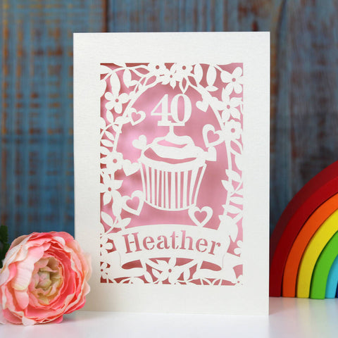 Personalised Papercut Cupcake Birthday Card - A5 / Candy Pink