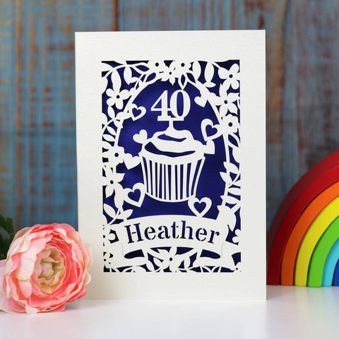 Personalised Papercut Cupcake Birthday Card - A5 / Infra Violet
