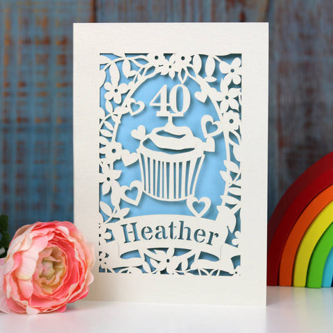 Personalised Papercut Cupcake Birthday Card - A5 / Light Blue