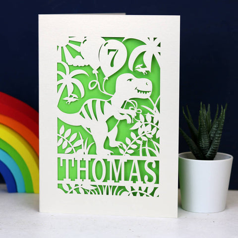 Personalised Papercut Dinosaur Birthday Card - A5 (large) / Bright Green