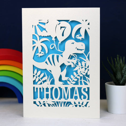 Personalised Papercut Dinosaur Birthday Card - A5 (large) / Peacock Blue