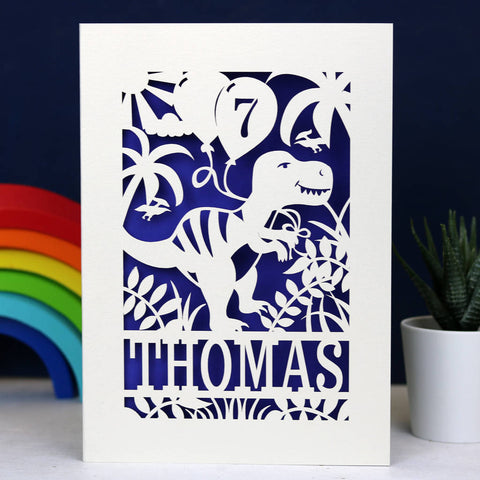 Personalised Papercut Dinosaur Birthday Card - A5 (large) / Infra Violet
