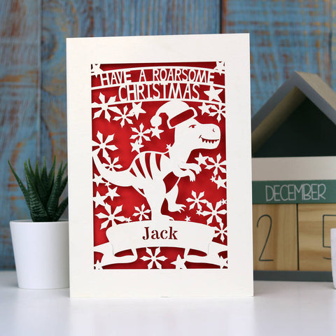 Personalised Papercut Dinosaur Christmas Card