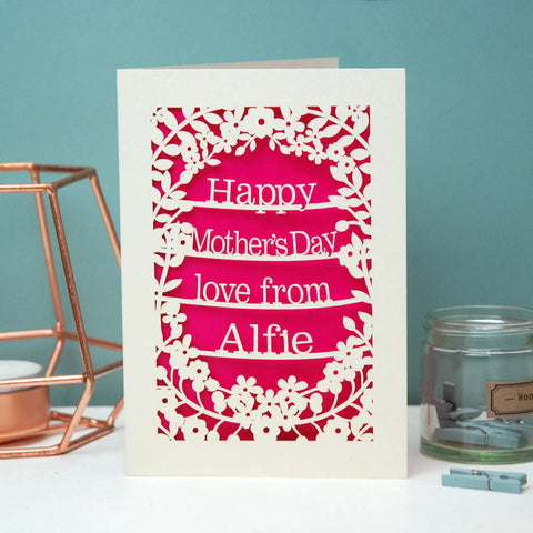 Personalised Papercut Happy Mother's Day Love From Card -