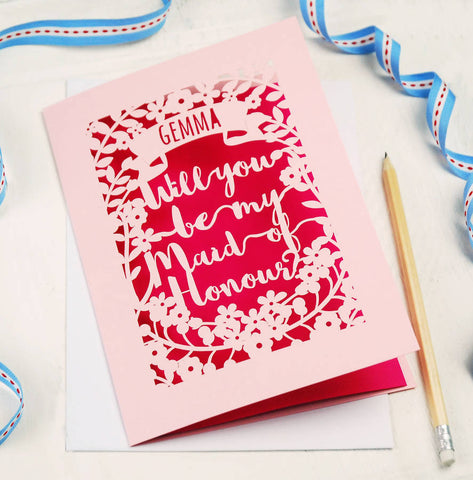 Personalised Maid of Honour Card - A5 / Candy Pink / Shocking Pink