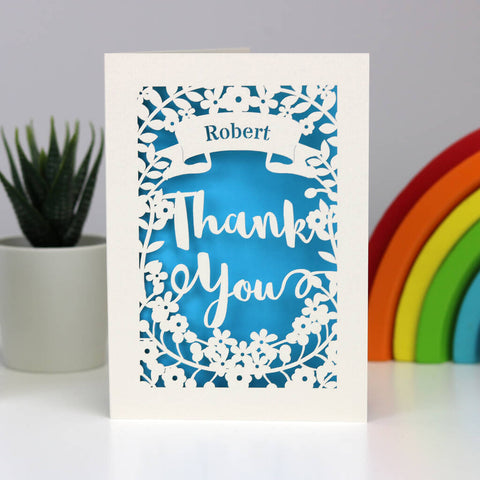 Personalised Papercut Thank You Card - A5 (large) / Peacock Blue