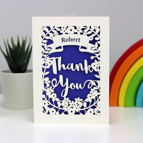 Personalised Papercut Thank You Card - A5 (large) / Infra Violet