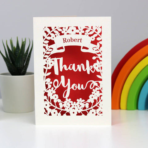 Personalised Papercut Thank You Card - A5 (large) / Bright Red