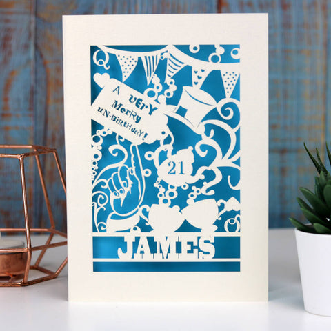Personalised Papercut Unbirthday Card - A5 (large) / Peacock Blue