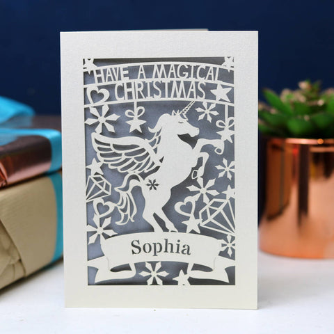 Personalised Papercut Unicorn Christmas Card - A6 (small) / Silver