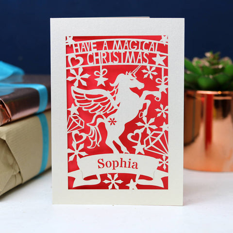 Personalised Papercut Unicorn Christmas Card - A6 (small) / Coral Pink